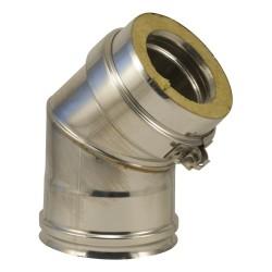 Coude à secteurs inox 316 double paroi pour poêle à pellets