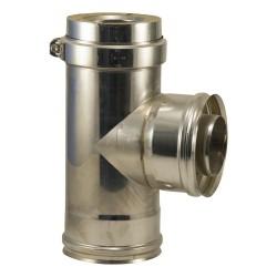 Té 90° inox 316 double paroi pour poêle à pellets